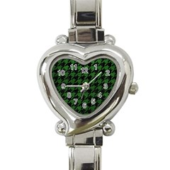 Houndstooth1 Black Marble & Green Leather Heart Italian Charm Watch by trendistuff