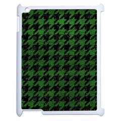 Houndstooth1 Black Marble & Green Leather Apple Ipad 2 Case (white) by trendistuff