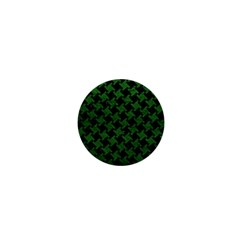 Houndstooth2 Black Marble & Green Leather 1  Mini Magnets by trendistuff