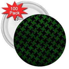 Houndstooth2 Black Marble & Green Leather 3  Buttons (100 Pack)  by trendistuff