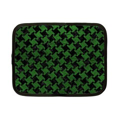 Houndstooth2 Black Marble & Green Leather Netbook Case (small)