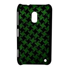 Houndstooth2 Black Marble & Green Leather Nokia Lumia 620 by trendistuff