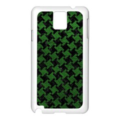 Houndstooth2 Black Marble & Green Leather Samsung Galaxy Note 3 N9005 Case (white) by trendistuff