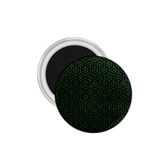 Hexagon1 Black Marble & Green Leather 1 75  Magnets by trendistuff