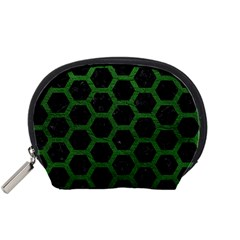 Hexagon2 Black Marble & Green Leather Accessory Pouches (small)  by trendistuff