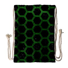 Hexagon2 Black Marble & Green Leather Drawstring Bag (large) by trendistuff