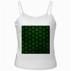 Hexagon2 Black Marble & Green Leather (r) White Spaghetti Tank by trendistuff