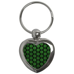 Hexagon2 Black Marble & Green Leather (r) Key Chains (heart)  by trendistuff