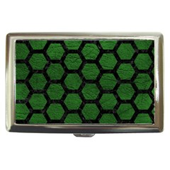 Hexagon2 Black Marble & Green Leather (r) Cigarette Money Cases by trendistuff