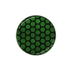 Hexagon2 Black Marble & Green Leather (r) Hat Clip Ball Marker (10 Pack) by trendistuff