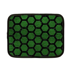 Hexagon2 Black Marble & Green Leather (r) Netbook Case (small)