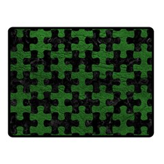 Puzzle1 Black Marble & Green Leather Fleece Blanket (small) by trendistuff