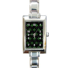 Royal1 Black Marble & Green Leather (r) Rectangle Italian Charm Watch by trendistuff
