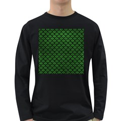 Scales1 Black Marble & Green Leather (r) Long Sleeve Dark T Shirts