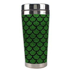 Scales1 Black Marble & Green Leather (r) Stainless Steel Travel Tumblers by trendistuff