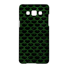 Scales3 Black Marble & Green Leather Samsung Galaxy A5 Hardshell Case