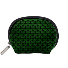 Scales3 Black Marble & Green Leather (r) Accessory Pouches (small)  by trendistuff
