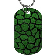Skin1 Black Marble & Green Leather Dog Tag (two Sides) by trendistuff