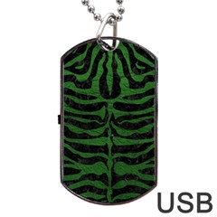 Skin2 Black Marble & Green Leather Dog Tag Usb Flash (two Sides) by trendistuff
