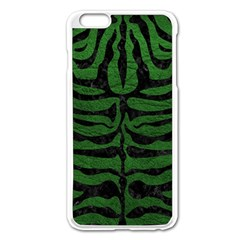 Skin2 Black Marble & Green Leather (r) Apple Iphone 6 Plus/6s Plus Enamel White Case by trendistuff