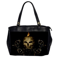 Golden Skull With Crow And Floral Elements Office Handbags by FantasyWorld7