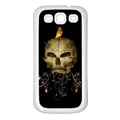 Golden Skull With Crow And Floral Elements Samsung Galaxy S3 Back Case (white) by FantasyWorld7