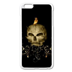Golden Skull With Crow And Floral Elements Apple Iphone 6 Plus/6s Plus Enamel White Case by FantasyWorld7
