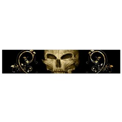 Golden Skull With Crow And Floral Elements Flano Scarf (small) by FantasyWorld7