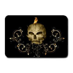 Golden Skull With Crow And Floral Elements Plate Mats by FantasyWorld7