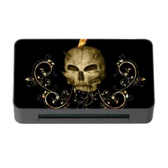 Golden Skull With Crow And Floral Elements Memory Card Reader With Cf by FantasyWorld7