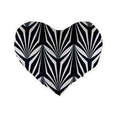 Art Deco, Black,white,graphic Design,vintage,elegant,chic Standard 16  Premium Flano Heart Shape Cushions by 8fugoso