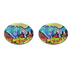 Magic Cube Abstract Art Cufflinks (oval) by 8fugoso