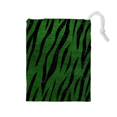 Skin3 Black Marble & Green Leather (r) Drawstring Pouches (large)  by trendistuff