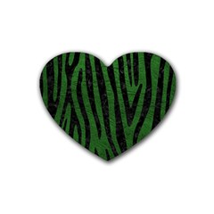 Skin4 Black Marble & Green Leather Heart Coaster (4 Pack)  by trendistuff
