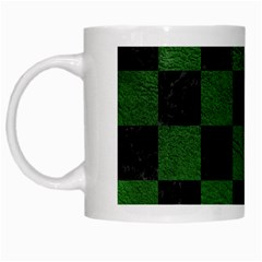 Square1 Black Marble & Green Leather White Mugs by trendistuff