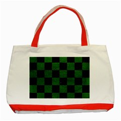 Square1 Black Marble & Green Leather Classic Tote Bag (red)
