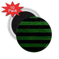 Stripes2 Black Marble & Green Leather 2 25  Magnets (10 Pack)  by trendistuff