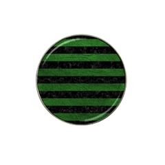 Stripes2 Black Marble & Green Leather Hat Clip Ball Marker (4 Pack)