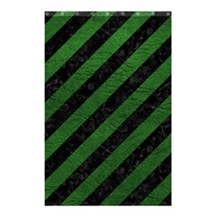 Stripes3 Black Marble & Green Leather Shower Curtain 48  X 72  (small)  by trendistuff