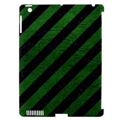 Stripes3 Black Marble & Green Leather Apple Ipad 3/4 Hardshell Case (compatible With Smart Cover) by trendistuff