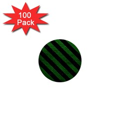 Stripes3 Black Marble & Green Leather (r) 1  Mini Buttons (100 Pack)  by trendistuff