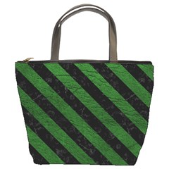 Stripes3 Black Marble & Green Leather (r) Bucket Bags by trendistuff