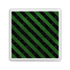 Stripes3 Black Marble & Green Leather (r) Memory Card Reader (square)  by trendistuff