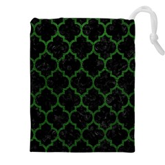 Tile1 Black Marble & Green Leather Drawstring Pouches (xxl) by trendistuff