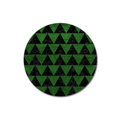 Triangle2 Black Marble & Green Leather Magnet 3  (round) by trendistuff