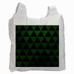 Triangle3 Black Marble & Green Leather Recycle Bag (two Side)  by trendistuff