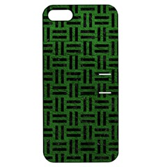 Woven1 Black Marble & Green Leather (r) Apple Iphone 5 Hardshell Case With Stand by trendistuff