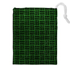 Woven1 Black Marble & Green Leather (r) Drawstring Pouches (xxl) by trendistuff