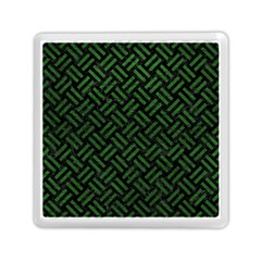 Woven2 Black Marble & Green Leather Memory Card Reader (square)  by trendistuff