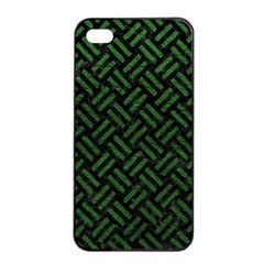 Woven2 Black Marble & Green Leather Apple Iphone 4/4s Seamless Case (black) by trendistuff